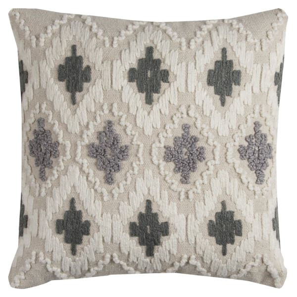 Ikat Natural Cotton Gray Pillow Cover