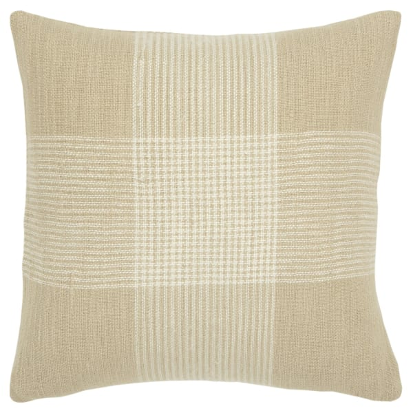Plaid Woven Natural/White Pillow Cover