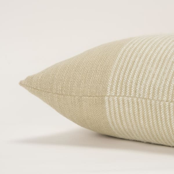 Plaid Woven Natural/White Filled Pillow