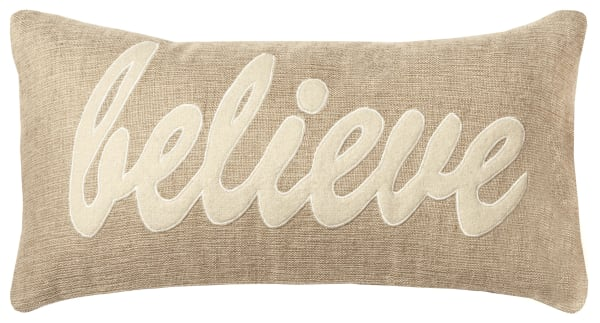 Believe Word Dark Natural Pillow Cover