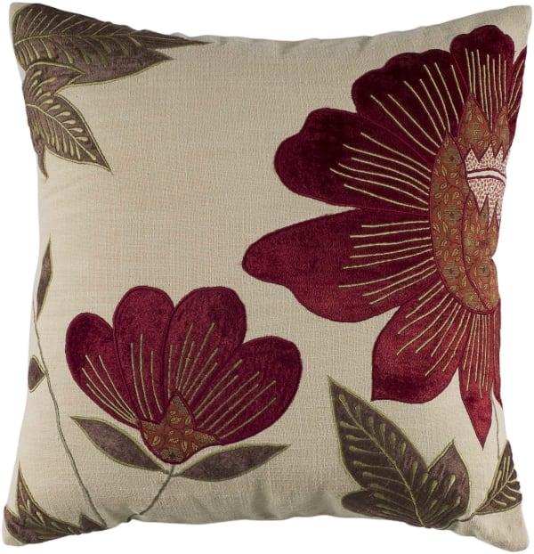 Velvet Floral Cotton Beige/Red Pillow Cover
