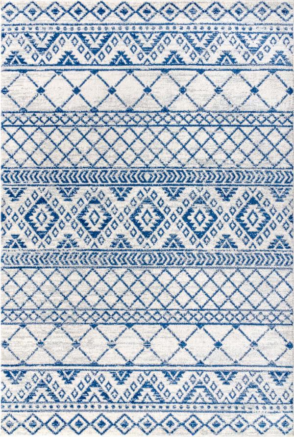 Moroccan HYPE Boho Vintage Tribal Cream/Blue 4' x 6' Area Rug