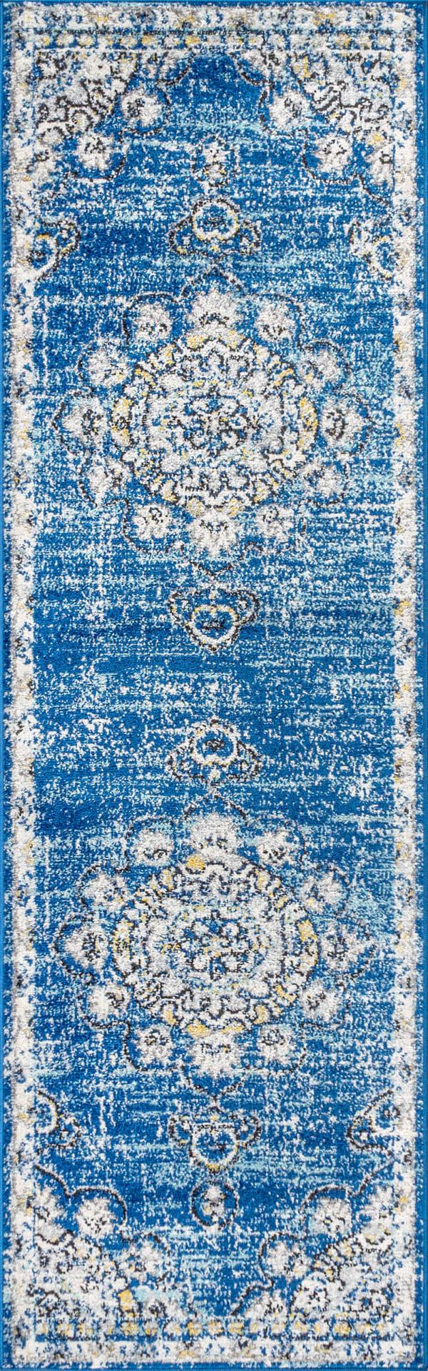 Bohemian FLAIR Boho Vintage Medallion Blue/Cream 2.25' x 8' Runner Rug