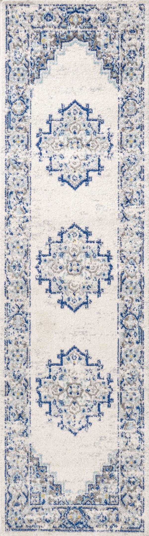 Blue and White Cottage Medallion Blue/Gray 2.25' x 8' Runner Rug