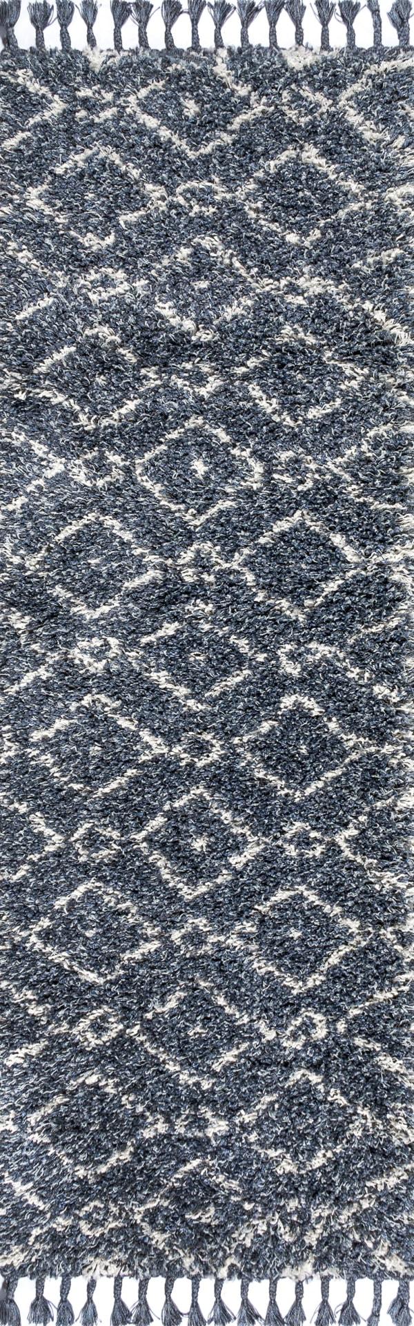 Shag Plush Tassel Moroccan Diamond Denim Blue/Cream 2.25' x 8'Rectangular Runner Rug