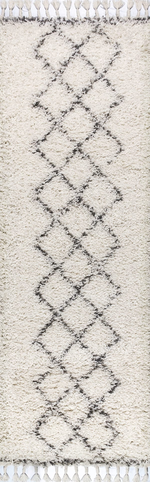 Shag Plush Tassel Moroccan Tribal Geometric Trellis Cream/Grey 2.25' x 8' Rectangular Runner Rug