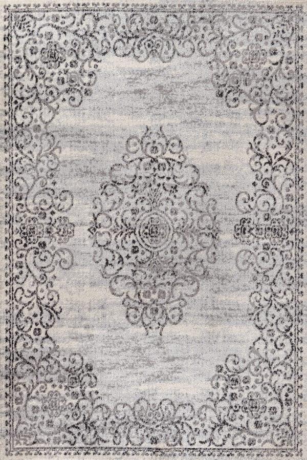 Filigree Medallion Dark Gray/Cream 3' x 5' Area Rug
