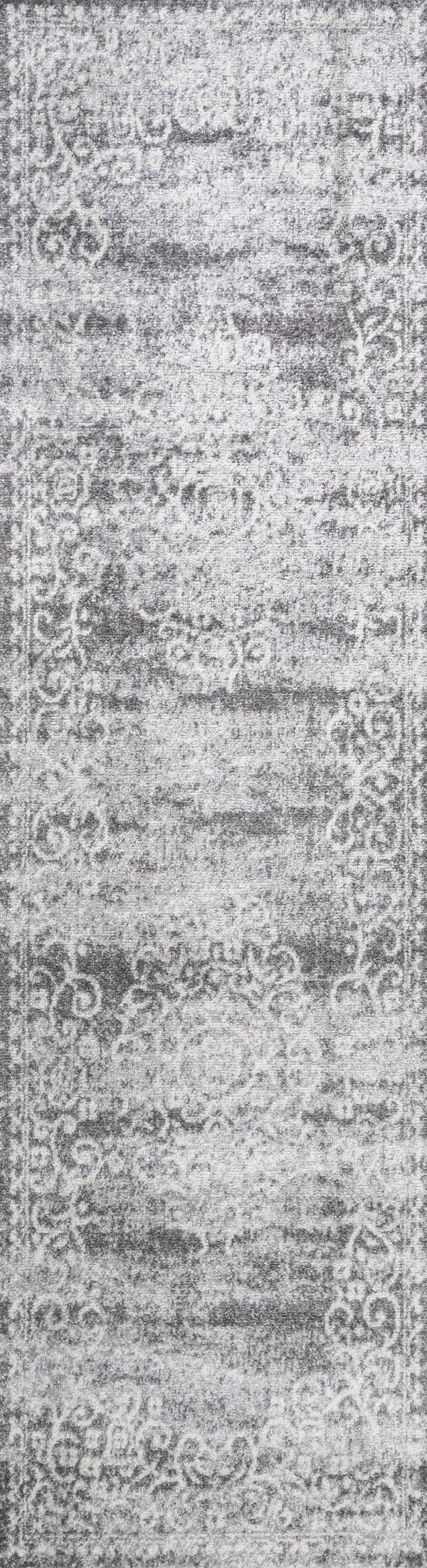 Filigree Medallion Light Gray/Cream 2.25' x 8' Runner Rug