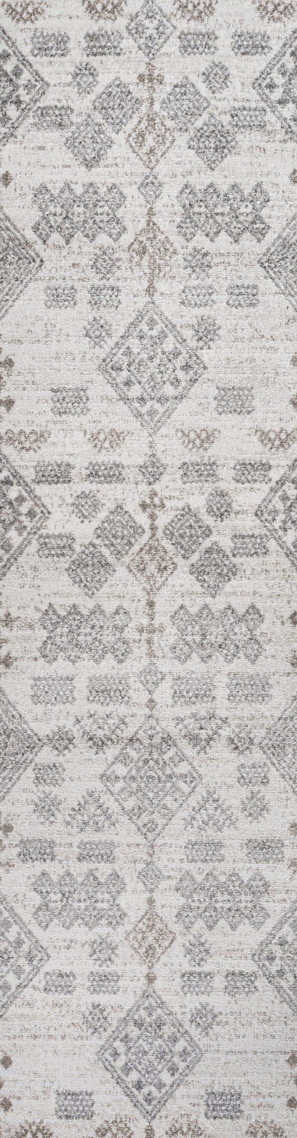 Berber Diamond Geometric Beige/Gray 2' x 8' Runner Rug