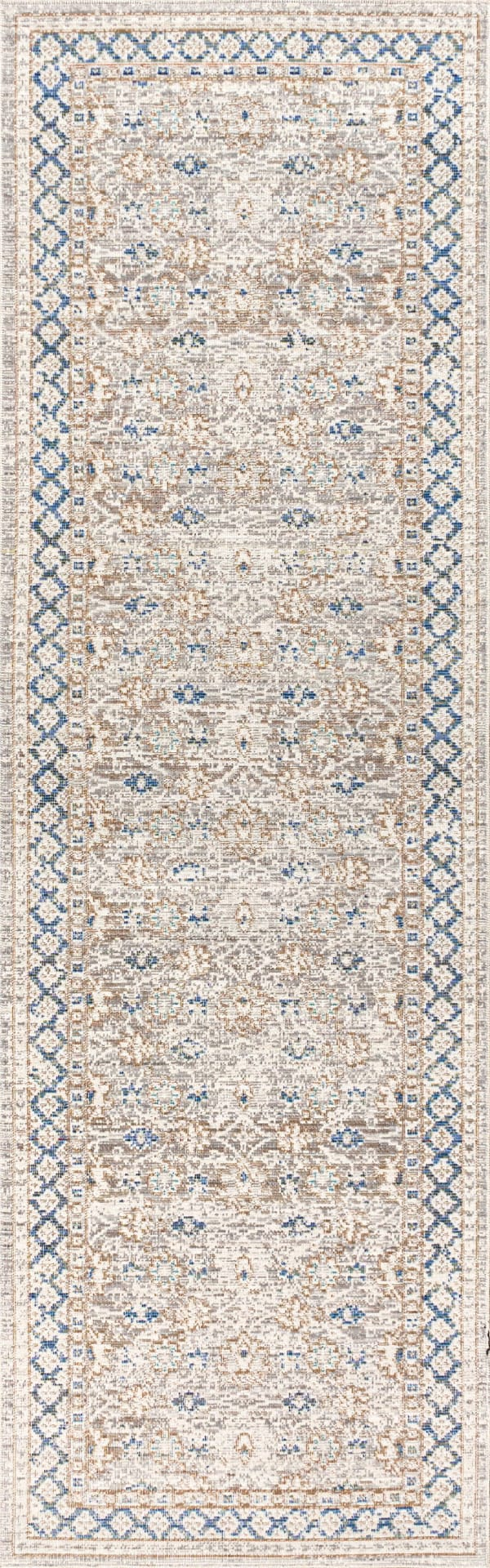 English Country Argyle Gray/Blue 2' x 8' Runner Rug