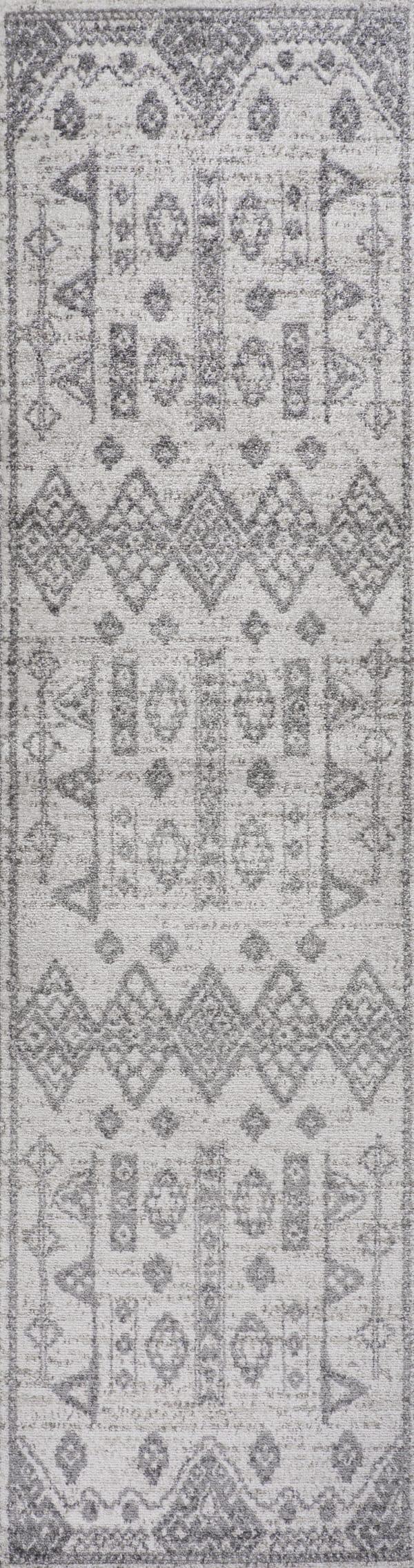 Tribal Diamond Geometric Gray/Beige 2' x 8' Runner Rug