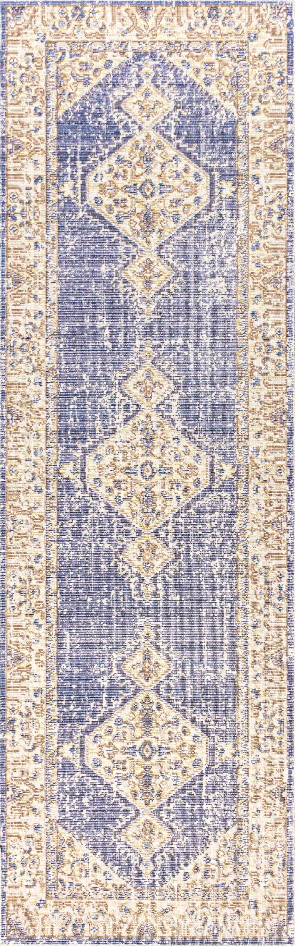 Modern Tribal Medallion Lavender/Gray 2' x 8' Runner Rug