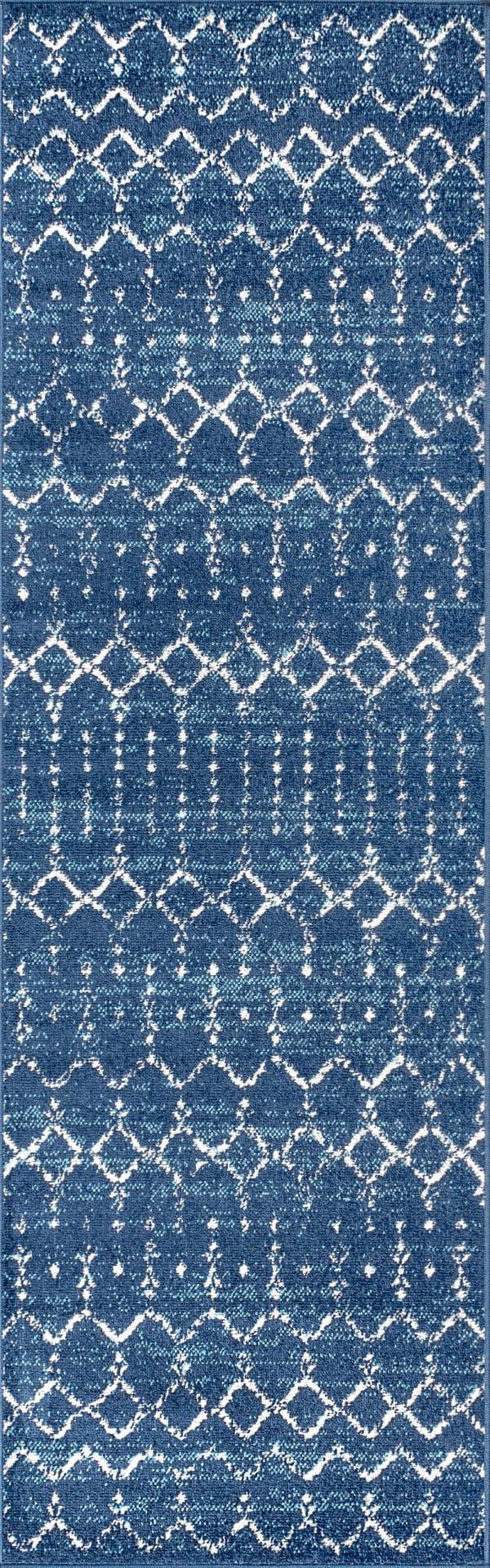 Moroccan HYPE Boho Vintage Diamond Blue/White 2.25' x 8' Runner Rug