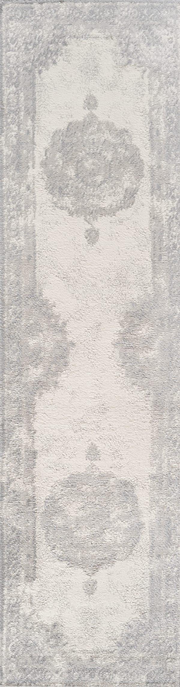 Cottage Medallion Gray/Ivory  2' x 8' Runner Rug