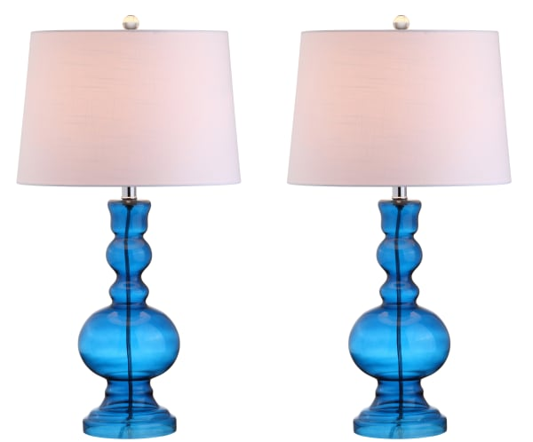 Glass Table Lamp, Night Blue (Set of 2)