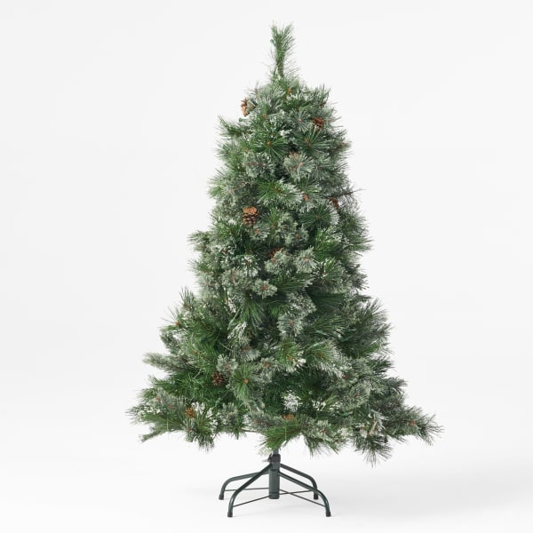 4.5-foot Cashmere Pine and Mixed Needles Pre-Lit Clear String Light Hinged Artificial Christmas Tree with Snowy Branches and Pinecones