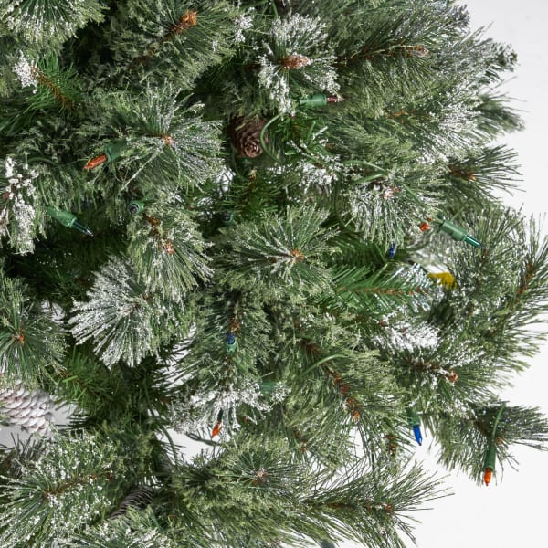 4.5-foot Cashmere Pine and Mixed Needles Pre-Lit Multi-Color String Light Hinged Artificial Christmas Tree with Snow and Glitter Branches and Frosted Pinecones