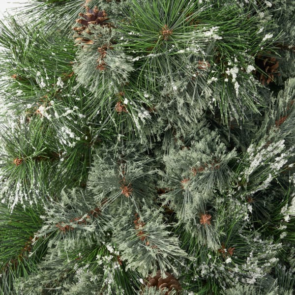 4.5-foot Cashmere Pine and Mixed Needles Unlit Hinged Artificial Christmas Tree with Snowy Branches and Pinecones