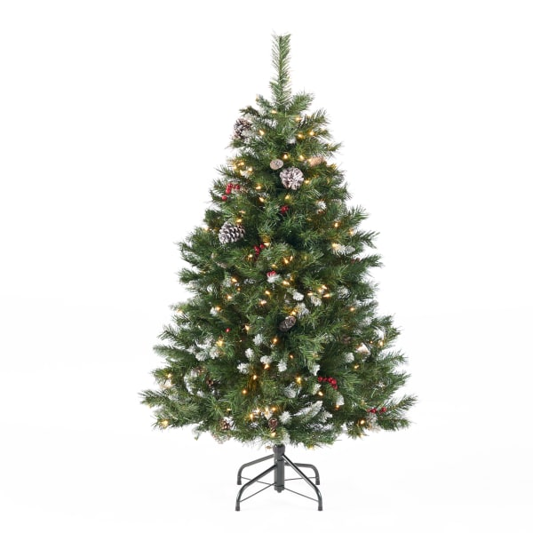 4.5-foot Mixed Spruce Pre-Lit Clear String Light Hinged Artificial Christmas Tree with Frosted Branches, Red Berries, and Frosted Pinecones
