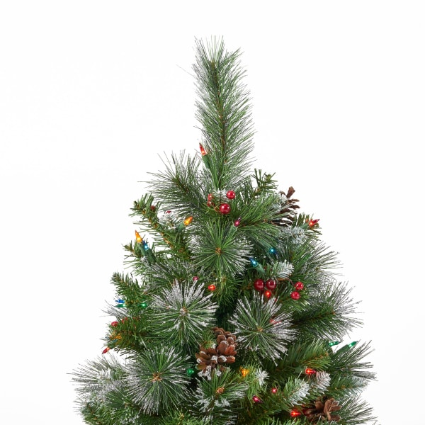 4.5-foot Mixed Spruce Pre-lit Multi-Colored String Light Hinged Artificial Christmas Tree with Glitter Branches, Red Berries, and Pinecones