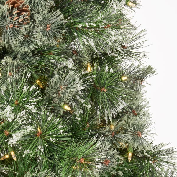 7-foot Cashmere Pine Pre-Lit Clear LED Artificial Christmas Tree with Snowy Branches and Pinecones