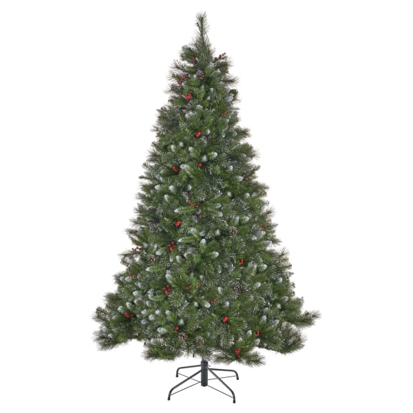 7-foot Mixed Spruce Pre-Lit Clear String Light Hinged Artificial Christmas Tree with Glitter Branches, Red Berries, and Pinecones