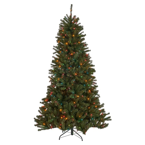 7-foot Noble Fir Pre-Lit Multi-Colored String Light Hinged Artificial Christmas Tree