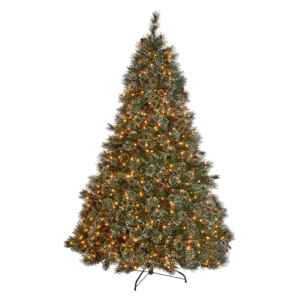 7.5-foot Cashmere Pine and Mixed Needles Pre-Lit Clear String Light Hinged Artificial Christmas Tree with Snowy Branches and Pinecones