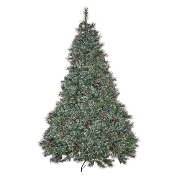 7.5-foot Cashmere Pine and Mixed Needles Pre-Lit Multi-Colored String Light Hinged Artificial Christmas Tree with Snowy Branches and Pinecones