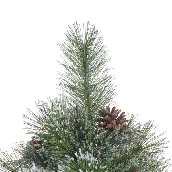 7.5-foot Cashmere Pine and Mixed Needles Unlit Hinged Artificial Christmas Tree with Snowy Branches and Pinecones