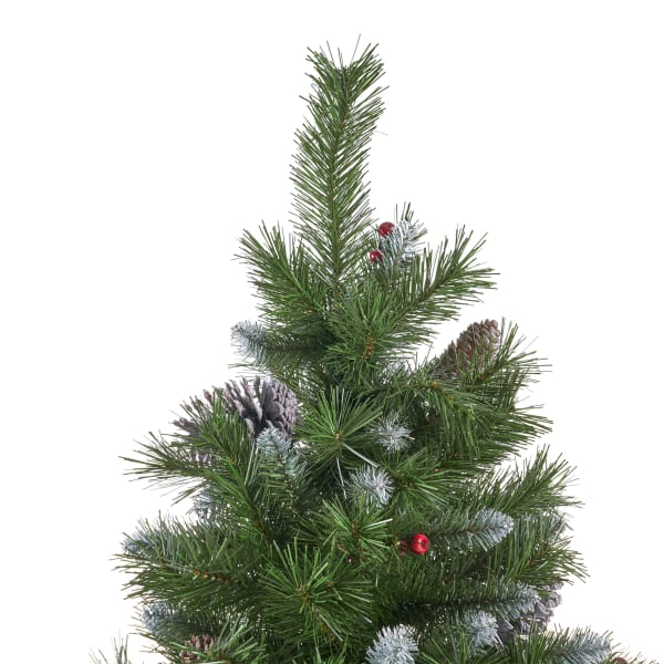 7.5-foot Mixed Spruce Unlit Hinged Artificial Christmas Tree with Frosted Branches, Red Berries, and Frosted Pinecones