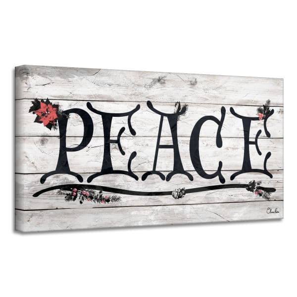 Peace Beige Holiday Canvas Wall Art