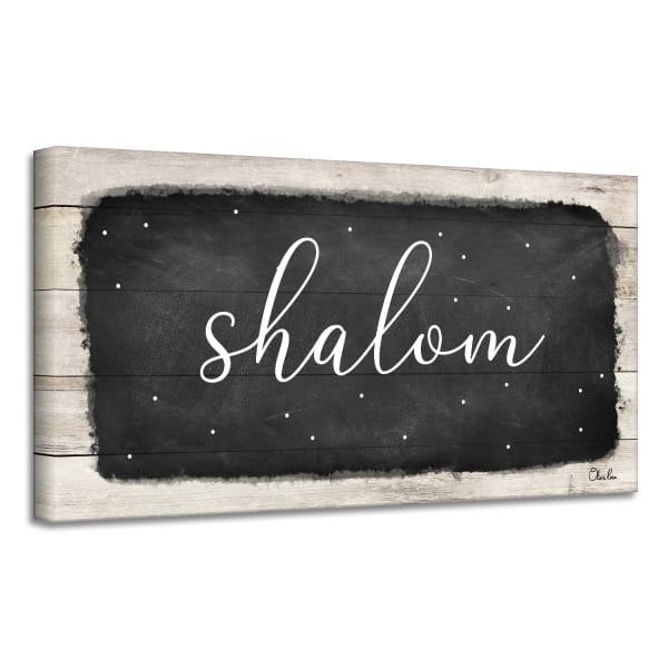 Shalom I Black Hanukkah Canvas Wall Art