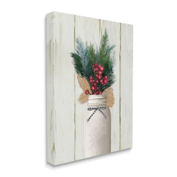 Country Holiday Jar Pine Needles Christmas Berries Wall Art