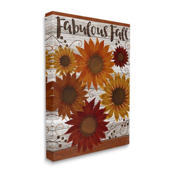 Fabulous Fall Phrase Rustic Harvest Sunflowers Wall Art