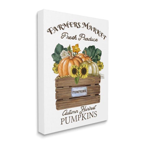 Farmers Market Autumn Harvest Charming Pumpkin Wall Art