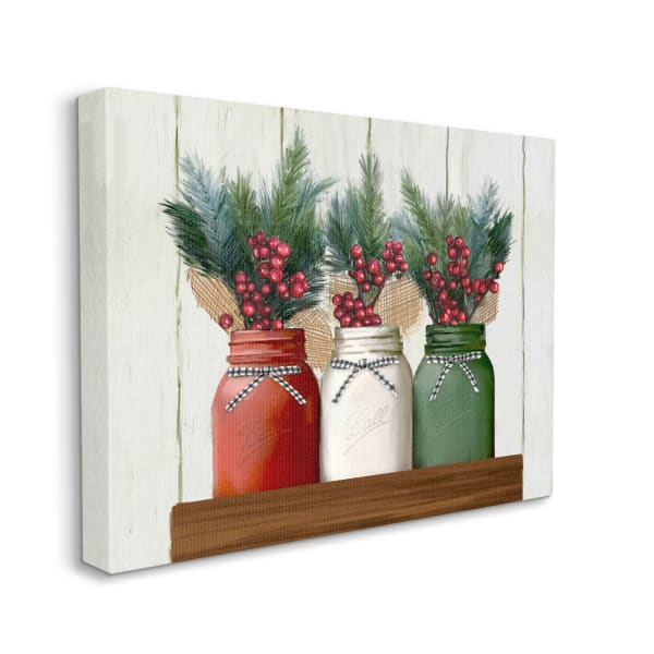 Festive Holiday Jars Christmas Berry Bouquets Wall Art