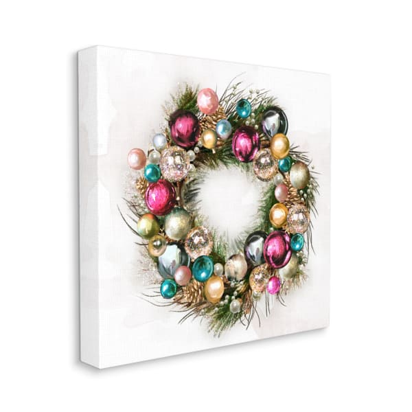Festive Ornamental Wreath Minimal Christmas Charm Wall Art
