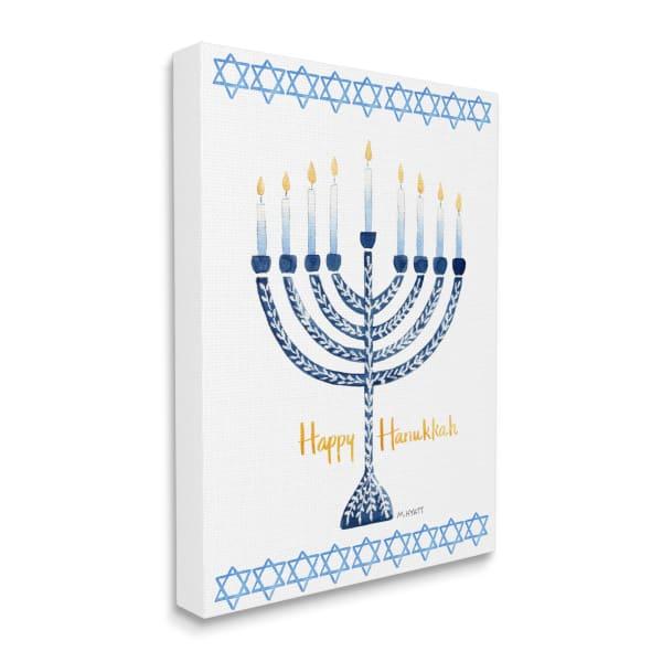 Happy Hanukkah Winter Holiday Festive Menorah Wall Art