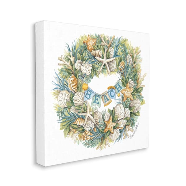 Holiday Beach Seashell Wreathe Nautical Christmas Wall Art
