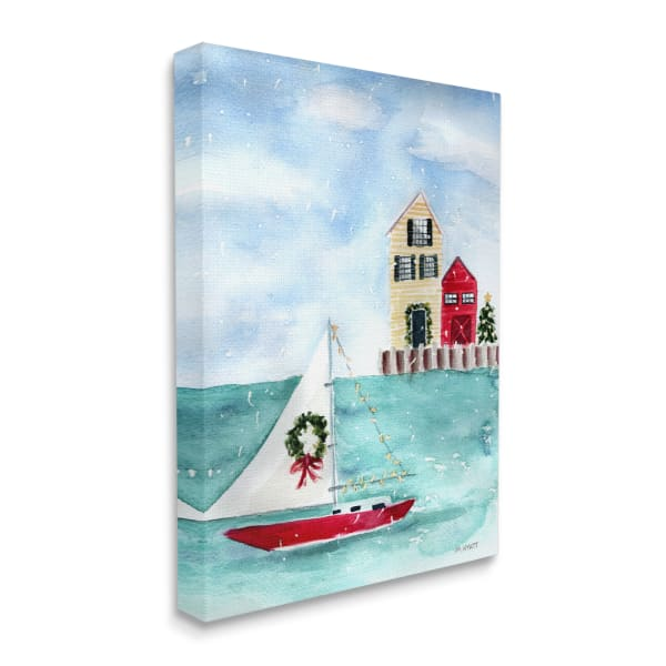 Holiday Sailboat Wreath Nautical Beach Christmas Super Wall Art