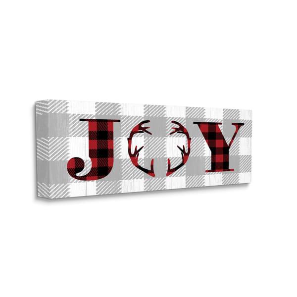 Joy Phrase Antler Typography Buffalo Plaid Design Wall Art