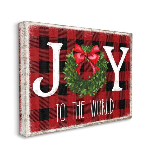 Joy To World Christmas Charm Buffalo Plaid Wall Art