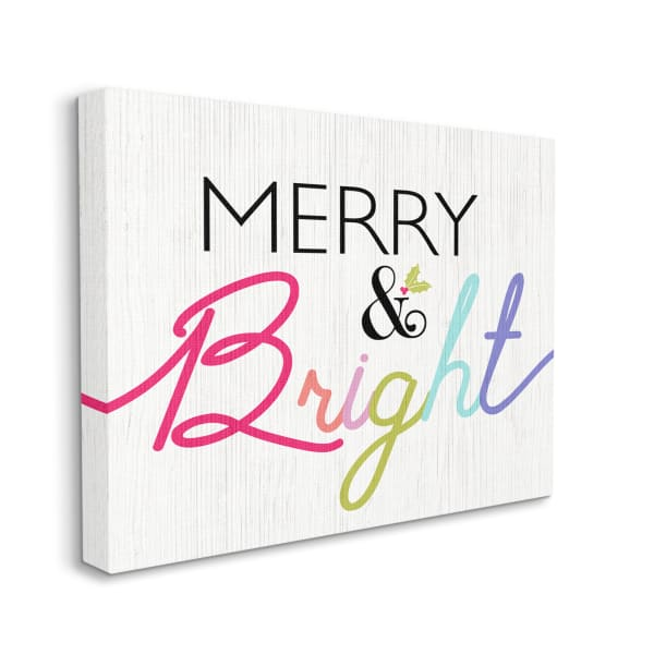 Merry and Bright Whimsical Rainbow Colors Wall Art
