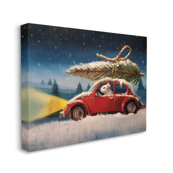 Mouse Driving Through Snow Winter Holiday Tree Wall Art