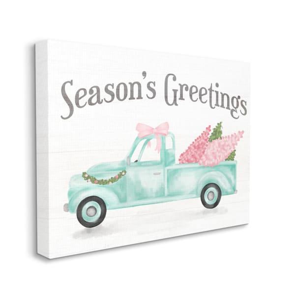 Pink Turquoise Christmas Season's Greetings Truck Wall Art