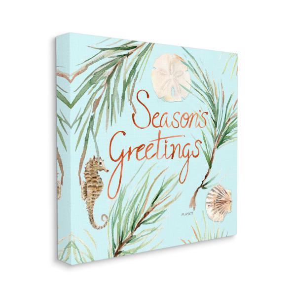 Season's Greetings Nautical Beach Christmas Seahorse Wall Art