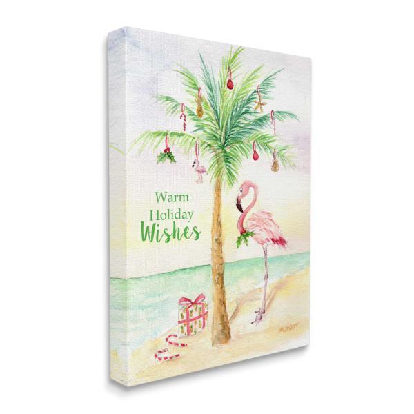 Tropical Flamingo Christmas Nautical Palm Tree Wall Art