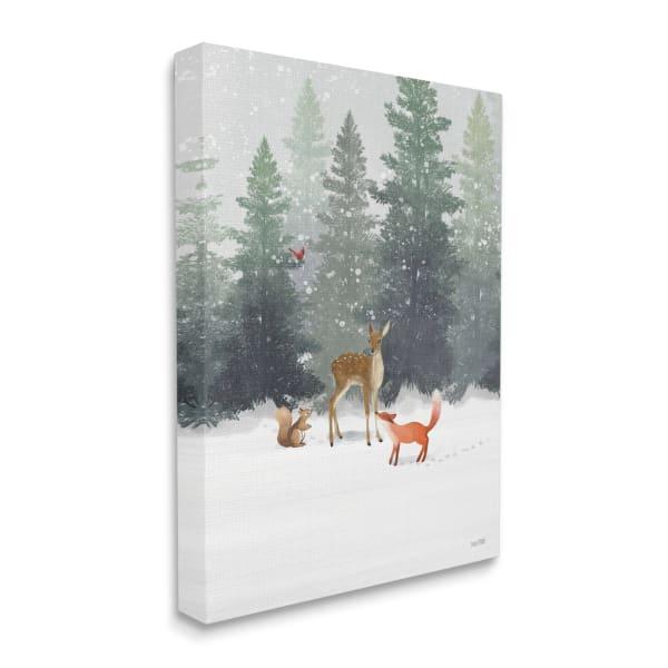 Winter Season Forest Animals Fox Deer Squirrel Wall Art