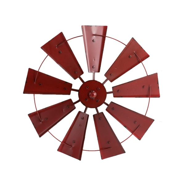 Vintage Red Metal Wind Spinner Wall Décor